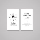 Barbershop business card design concept. Barbershop logo with bob hair woman. Vintage, hipster and retro style. Black and white. Hair salon business card Stock Images