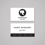 Barbershop business card design concept. Barbershop logo with long ponytail hairstyle woman profile. Vintage, hipster style. Royalty Free Stock Photos