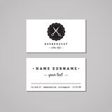 Barbershop business card design concept. Barbershop logo with scissors and badge. Vintage, hipster and retro style. Black and white. Hair salon business card Royalty Free Stock Photo