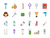 Barbershop colorful icons set Stock Photos