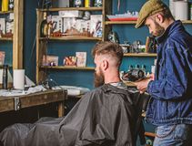 Barbershop concept. Barber with hairdryer blows off hair out of cape. Hipster bearded client got hairstyle. Barber with stock photo
