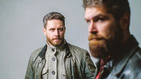 Barbershop concept. Men handsome with beard and mustache facial hair. Barber and beard grooming. Masculine men with well stock photography