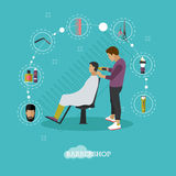 Barbershop concept vector illustration in flat style.  Royalty Free Stock Photography
