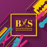 Barbershop design elements Stock Photo