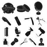 Barbershop and equipment black icons in set collection for design. Haircut and shave vector symbol stock web Stock Photography