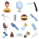 Barbershop and equipment cartoon icons in set collection for design. Haircut and shave vector symbol stock web Stock Images