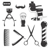 Barbershop equipment set. Vintage retro barbershop set with cutting equipment consists of blade, hair clipper, scissors, shaving brush swab, comb, straight razor Stock Image