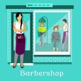Barbershop Facade with Customers Stock Photos