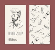 Barbershop flyer with barber tools and trendy man haircut. Monochrome vector illustration. Royalty Free Stock Images