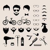 Barbershop hair cut mobile app flat vector hipster haircut beard Stock Image