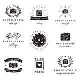 Barbershop (hair salon) logo vintage vector set. Hipster and retro style. Stock Photography