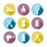 Barbershop (hair salon) vector icons set (light blue, light yellow, light violet). Stock Photography