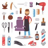 Barbershop hairdresser beard hipster man vector character making haircut saloon tools beauty barber shop hair care. Accessories flat design illustration. Modern stock illustration