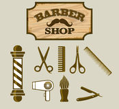 Barbershop or Hairdresser icons and Signpost Stock Photo