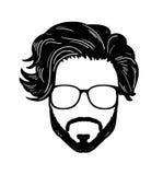 Barbershop Hipster beard Mustache Glasses Hairstyle Vector image. Barbershop Hipster beard Mustache Glasses Hairstyle Vector logo royalty free illustration