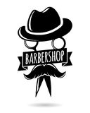 Barbershop hipster logo character. Vector illustration for your design, eps10 Royalty Free Stock Image