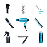 Barbershop Icon Set. Colored and isolated barbershop icon set with hairdressers and hairstylists working tools vector illustration Royalty Free Stock Photos