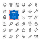 Barbershop Icon set. Vector Illustration. Web icons collection - Barbershop.  Vector, thin line set Royalty Free Stock Photos