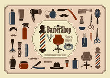 Barbershop icons Stock Photo