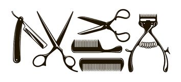 Barbershop items such as scissors, comb, razor, mechanical hair clipper. Retro vector silhouettes. Barbershop items such as scissors, comb, razor, mechanical vector illustration
