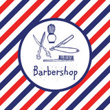 Barbershop logo in circle. Barber pole color lines. Hand drawn lettering ink. Can use for label, emblem, advertising Stock Photo
