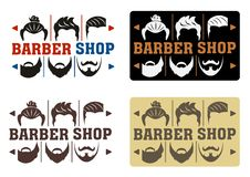 Barbershop Logo with four options in modern style. Idea of interface with a choice of hairstyles and beards. For Label, Badge, Sig vector illustration