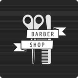 Barbershop logo scissors and comb. Vector pattern hairdresser logo. hairstyles logo. Scissors and Comb Rewind the tape with the inscription barbershop Stock Images