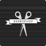 Barbershop logo scissors. Vector pattern hairdresser logo. hairstyles logo. Scissors Rewind the tape with the inscription barbershop Stock Photo