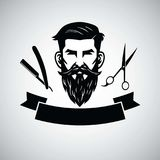 Barbershop Logo Template with Hipster Head and Scissors. Vector Illustration. Design Stock Photo