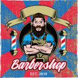 Barbershop logo. Vintage texture poster custom graphic design engraving hipster man barber with big black beard mustache and stylish hairstyle barbershop logo stock illustration