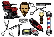 Barbershop object set in color