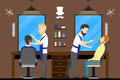 Barbershop salon inside. Male hairdressers with visitors. Styling beard. Chairs with mirrors Royalty Free Stock Photos