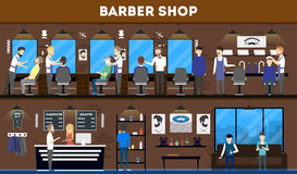 Barbershop salon interior. Barbershop interior, stylish hair salon or barber shop. Hairdresser and customer. Cutting styling washing, hair dryer Royalty Free Stock Photography