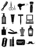 Barbershop saloon icons set Stock Images