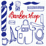 Barbershop set. Hand-drawn cartoon hairdressing stuff. Doodle drawing. Royalty Free Stock Photos