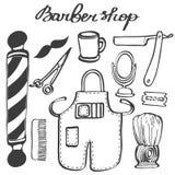 Barbershop set. Hand-drawn cartoon hairdressing stuff. Doodle drawing. Stock Photo