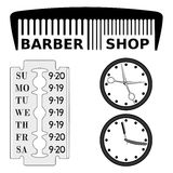 Barbershop signboard and schedule. Royalty Free Stock Photo