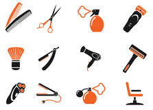 Barbershop simply icons Stock Images