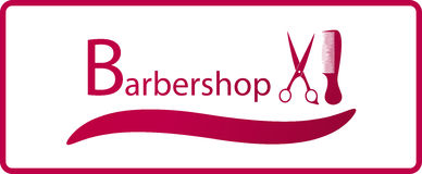 Barbershop symbol with comb and scissors Stock Photography