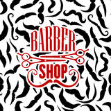 Barbershop symbol with scissors and moustaches Stock Photo
