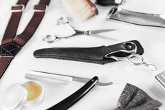 Barbershop Tools. Barber Supplies And Equipment. On White Table In Men Hair Salon. Men`s Grooming Tools. High Resolution royalty free stock photos