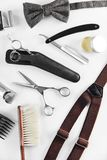 Barbershop Tools. Barber Supplies And Equipment. On White Table In Men Hair Salon. Men`s Grooming Tools. High Resolution royalty free stock photo