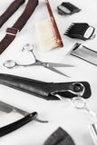 Barbershop Tools. Barber Supplies And Equipment. On White Table In Men Hair Salon. Men`s Grooming Tools. High Resolution royalty free stock image