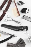 Barbershop Tools. Barber Supplies And Equipment. On White Table In Men Hair Salon. Men`s Grooming Tools. High Resolution stock image
