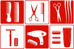 Barbershop tools on white and red backgrounds Royalty Free Stock Images