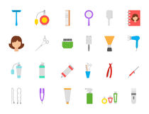 Barbershop vector icons set. Set of 24 Barbershop vector icons Stock Photography