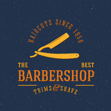 Barbershop Vector Vintage Label or Logo Template Stock Images