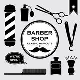 Barbershop vintage symbols in set Stock Photo
