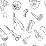 Barbery shoppar den drog handen royaltyfri illustrationer