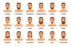 Barbes et moustaches de mode d'homme illustration de vecteur
